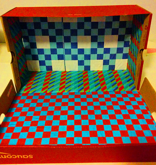 Shoebox Toy Car Garage Lined with Paper