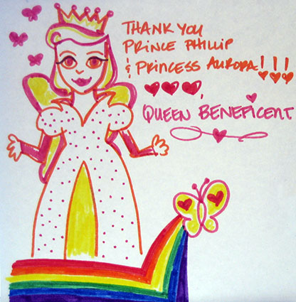 Queen Beneficent Thanks Prince Phillip and Princess Aurora